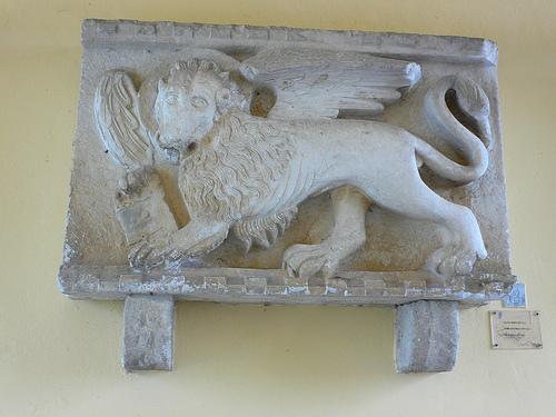 Carved stone at Motovun, Istria, Croatia