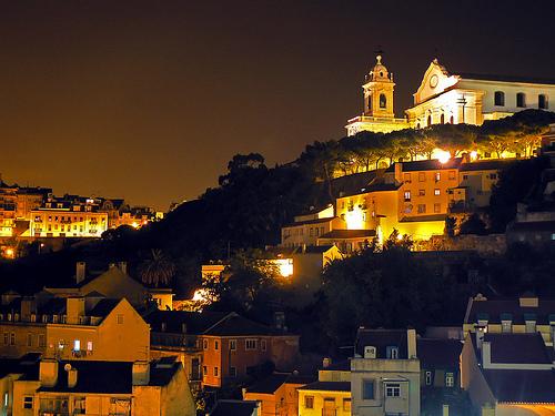 Night falls in Lisbon