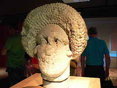 Roman bust at the Roman Baths in Bath