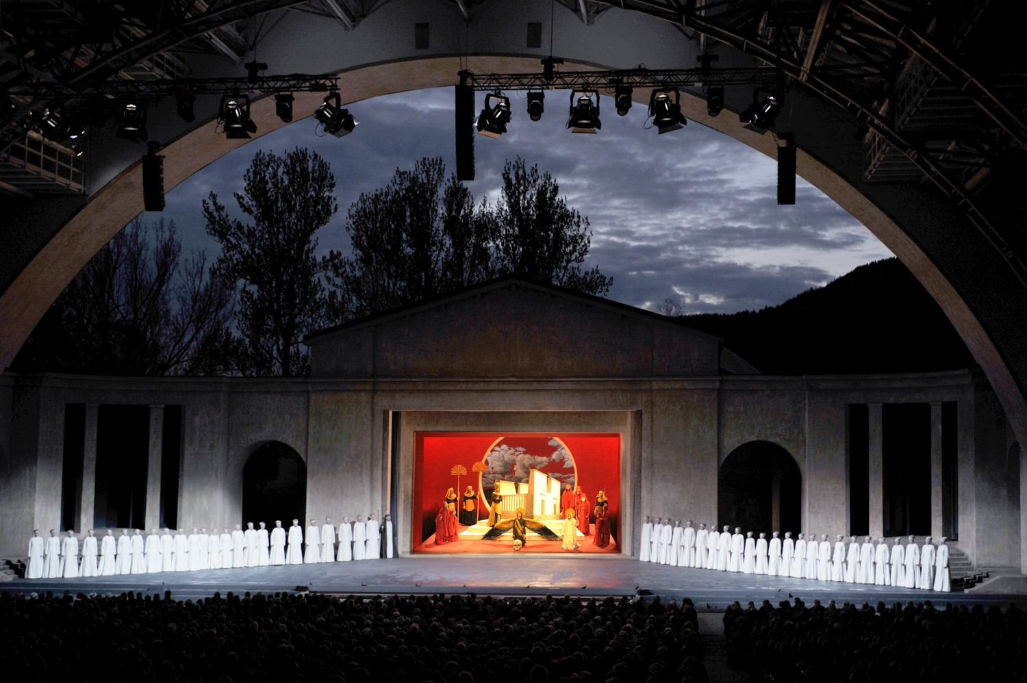 Passion Play Theatre night time Photos: Oberammergau Passion Play 2020