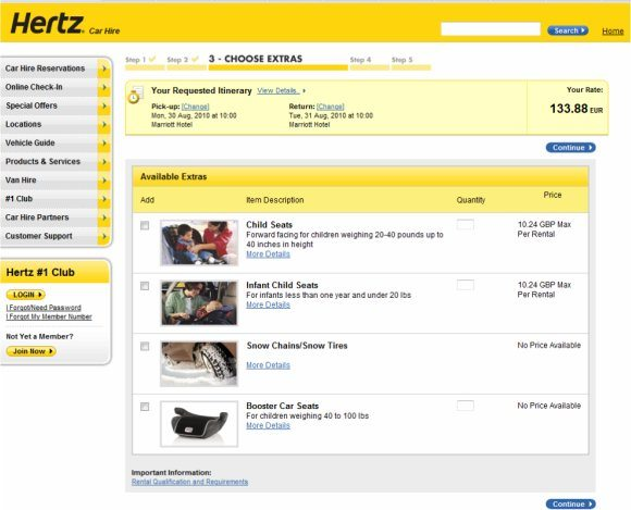 Hertz car hire hidden charges