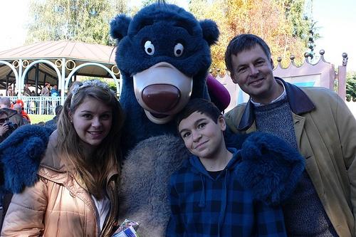 With Balloo the bear at Disneyland, Paris