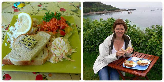 Crab salad & Crab sandwiches on Guernsey - Guernsey Cuisine Photo: Heatheronhertravels.com