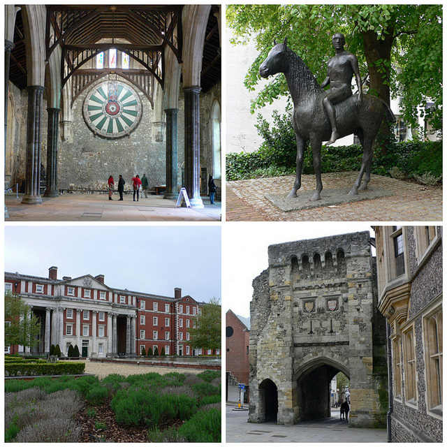 Winchester clockwise from Top left: The Great Hall, Horse and Rider by Elizabeth Frink on the High Street, Westgate, Peninsula Barracks Photos: Heatheronhertravels.com