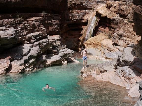 Swimming At The Final Waterfall At Paradise Valley, Morocco Photo:  Heatheronhertravels.com