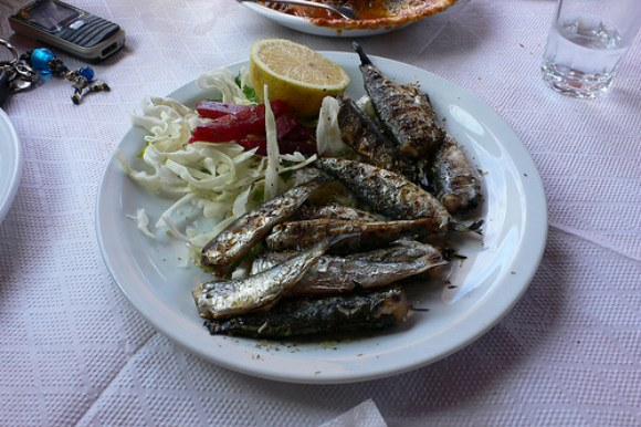 Grilled sardines - Zante harbour in Greece Photo: Heatheronhertravels.com