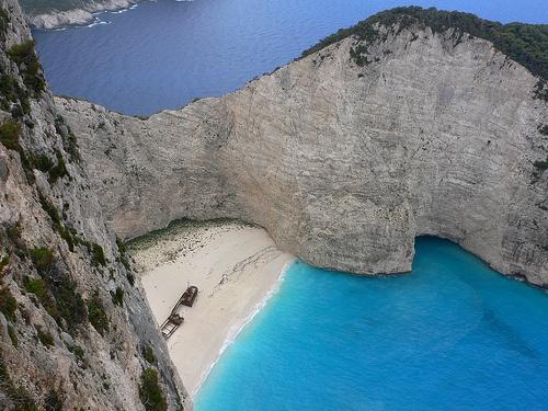 Navagio or Shipwreck cove on Zante, Greece Photo: Heatheronhertravels.com
