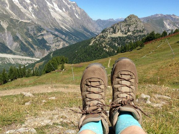 My Berghaus Explorer Light boots from Blacks on the Tour de Mont Blanc Photo: Heatheronhertravels.com