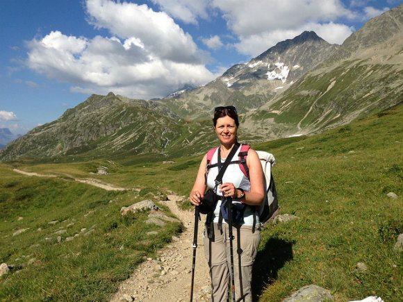 Walking down from Col de Bonhomme on the Tour de Mont Blanc Photo: Heatheronhertravels.com