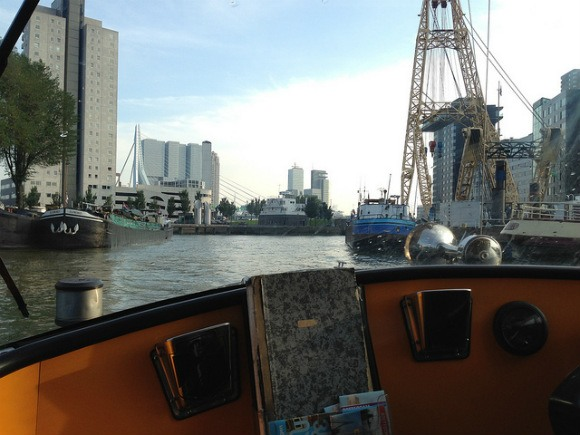 Taking the water taxi in Rotterdam - on your one day in Rotterdam Photo: Heatheronhertravels.com