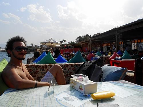 Mina relaxes at the Yalla Bar in Dahab, Egypt Photo: Mina Mahrous