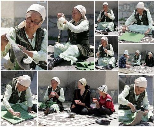 Women sew the traditional felt rugs in Kyrgyzstan Photo: Globein.com