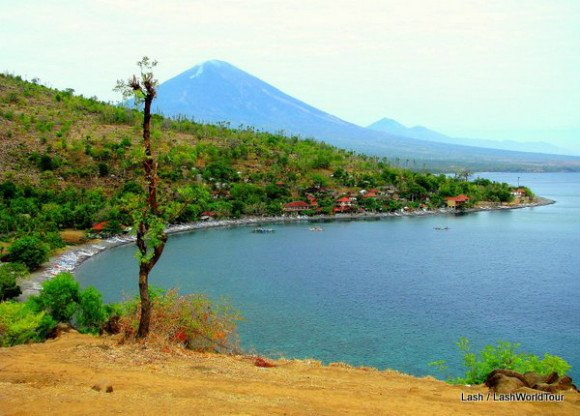 View of Bali's sacred volcanoes from Amed coastline Photo: LashWorldTour