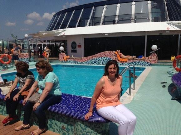 On board MSC Splendida with my Eileen Fisher linen vest