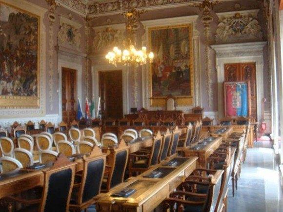 Interior of Town Hall in Cagliari, Sardinia