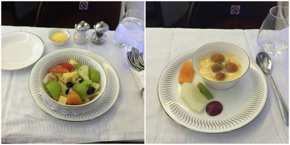 Dinner on Premiere Class with Jet Airways Photo: Heatheronhertravels.com