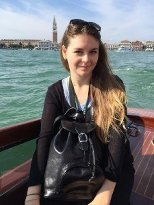 Sophie- Anne wearing the Sparano leather backpack from Maxwell Scott Bags in Venice
