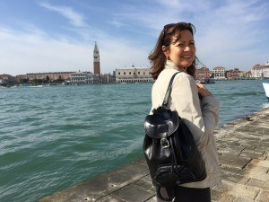 Heather wearing the Sparano leather backpack from Maxwell Scott Bags in Venice - San Georgio