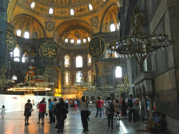 Inside Hagia Sophia in Istanbul Photo: Heatheronhertravels.com