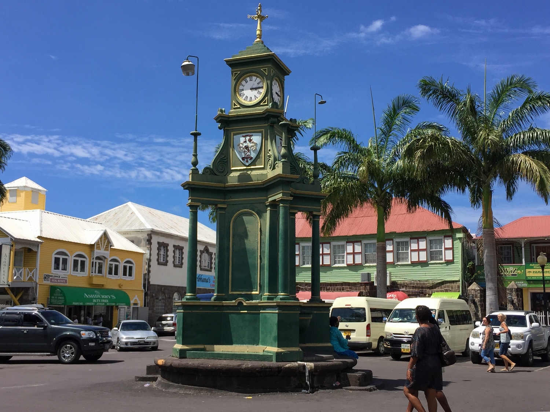 Clocktower in Basseterre St Kitts Photo Heatheronhertravels.com