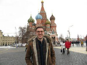 Nick outside St Basil's Cathedral, Moscow Heatheronhertravels.com