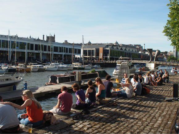 Sitting on Bristol's harbour wall