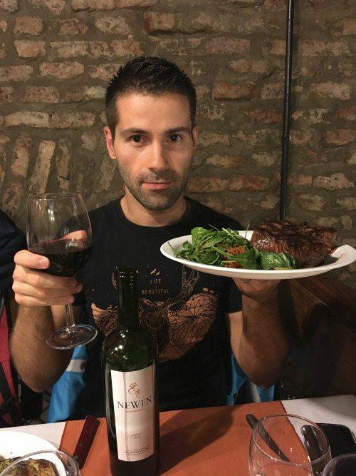 Popular foods in Argentina - Malbec and steak Seb Photo: Heatheronhertravels.com
