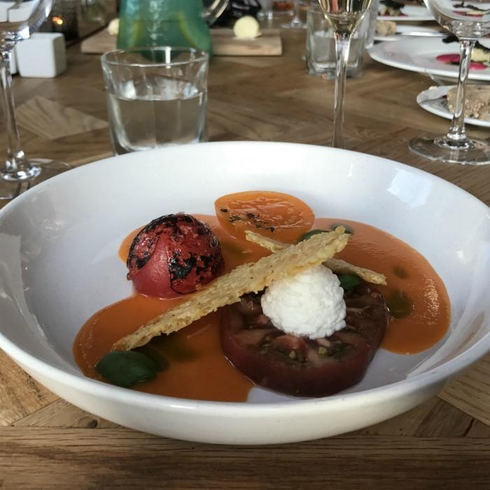 Backwell House - Heritage tomato, Goats curd, gazpacho, basil