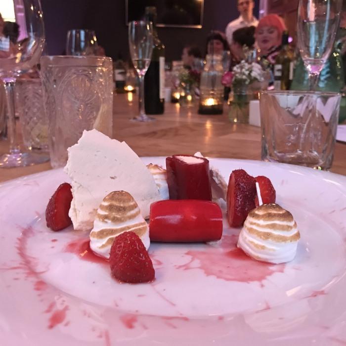 Backwell House: Strawberry Canelloni, meringue & strawberries