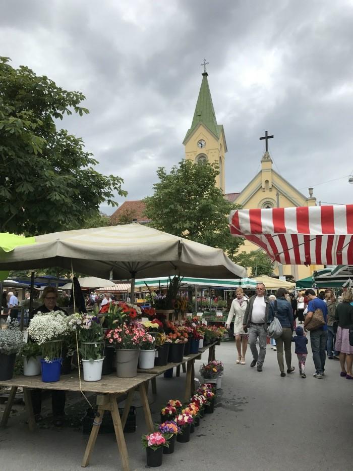 What to do in Graz Farmers market at Kaiser Josef Platz in Graz Photo: Heatheronhertravels.com