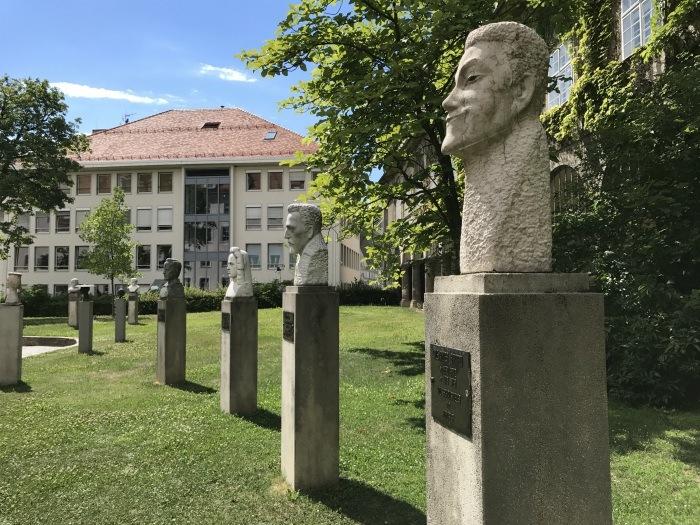 Statues of famous residents of Graz Austria Photo: Heatheronhertravels.com