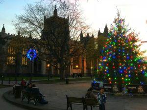 Bristol cathedral at Christmas