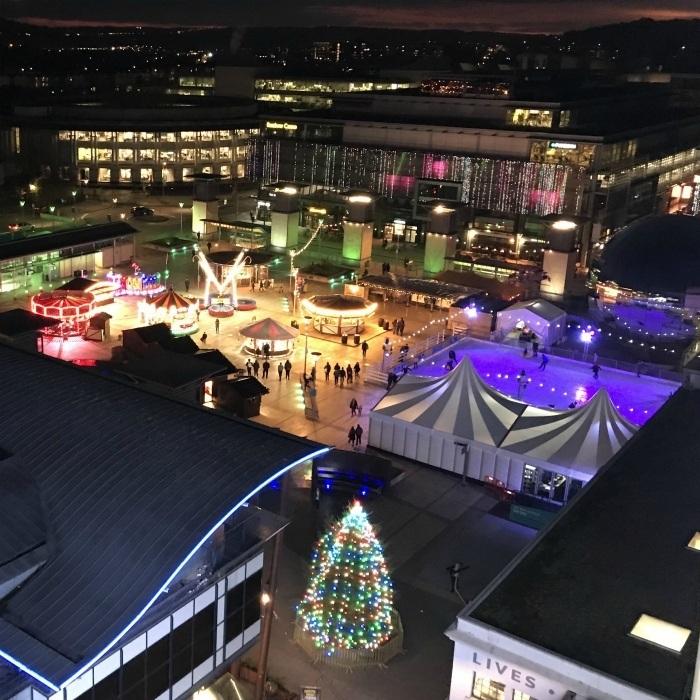 Bristol Xmas Market - Millenium Square view from the Ferris Wheel
