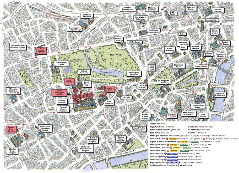 Cultural map of London - things to do in London with Imperial College Summer accommodation