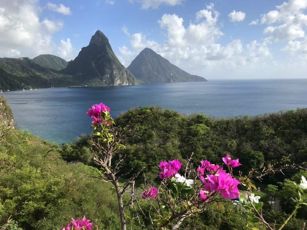 View of the Pitons from Jade Mountain in St Lucia
