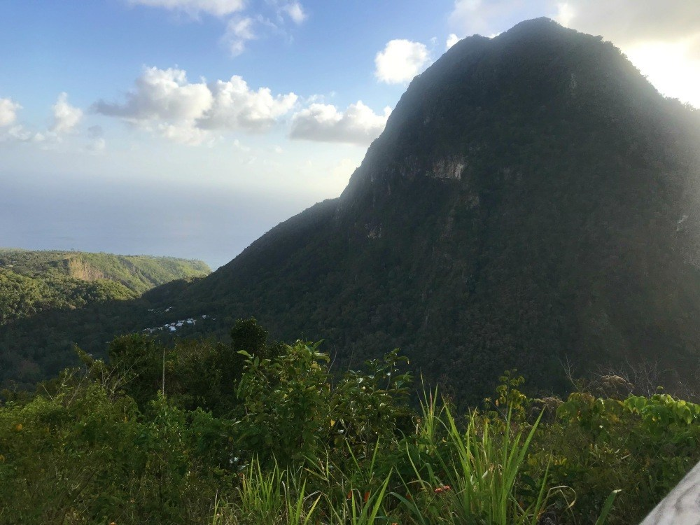 View of The Pitons from Tet Paul in St Lucia Photo Heatheronhertravels.com