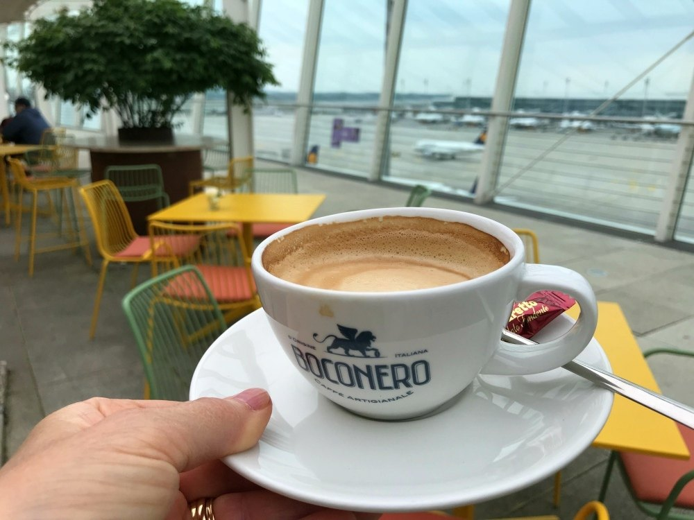 Coffee at Cloud 7 Munich Airport Photo Heatheronhertravels.com