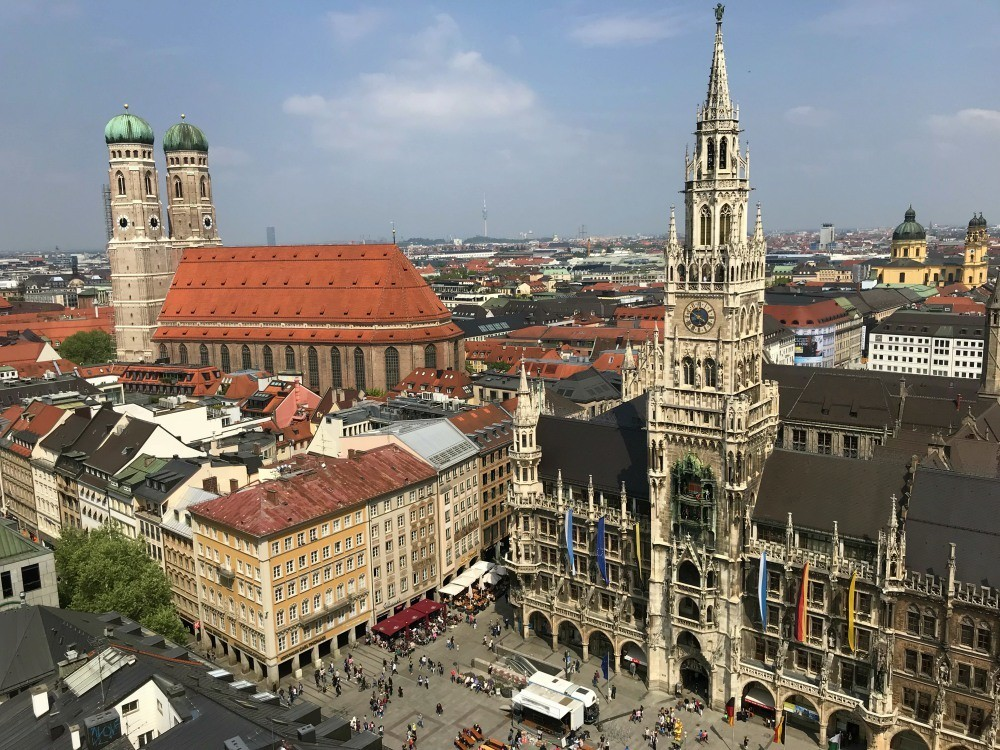 Marienplatz Munich from St Peter's Church Photo Heatheronhertravels.com