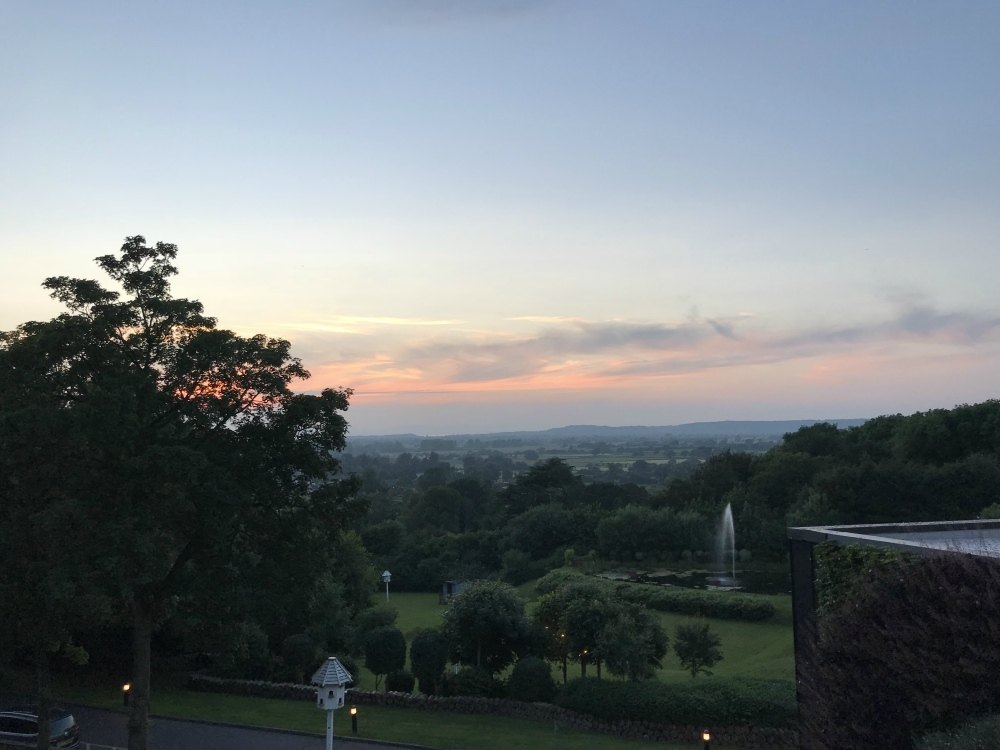 Sunset at Cadbury House Hotel near Bristol Photo Heatheronhertravels.com