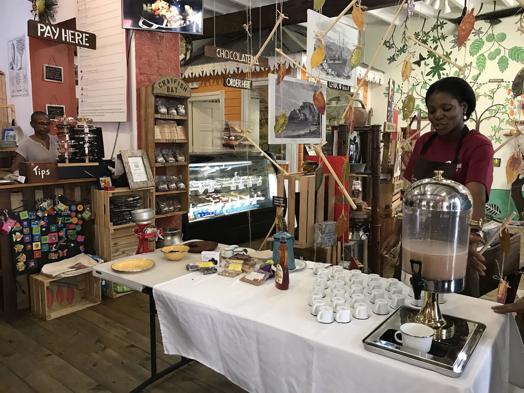Cocoa tea at House of Chocolte for Grenada Chocolate fest