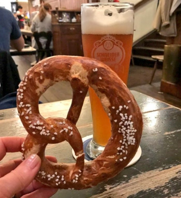 What to eat in Munich - Pretzel and Beer in Munich Photo Heatheronhertravels.com