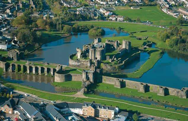 Aerial view Caerphilly Castle Photo Cadwr