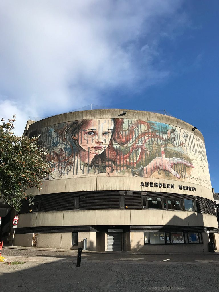 Nuart Aberdeen streetart by Herakut - things to do in Aberdeen with FlyBmi