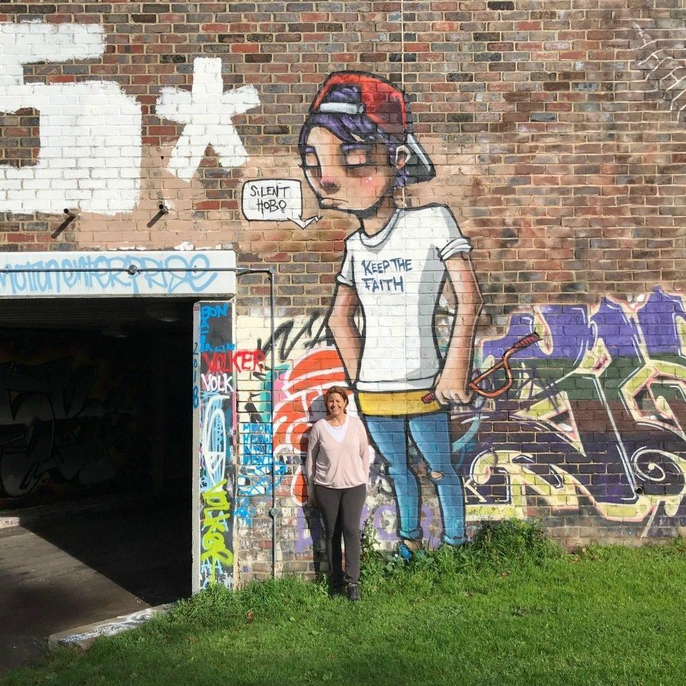 Street art on the sycle trail Cheltenham Photo Heatheronhertravels.com