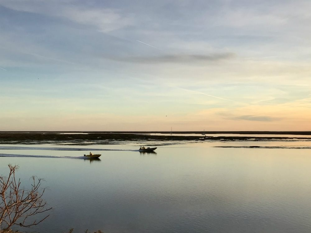 Ria Formosa Lagoon at sunset from Faro