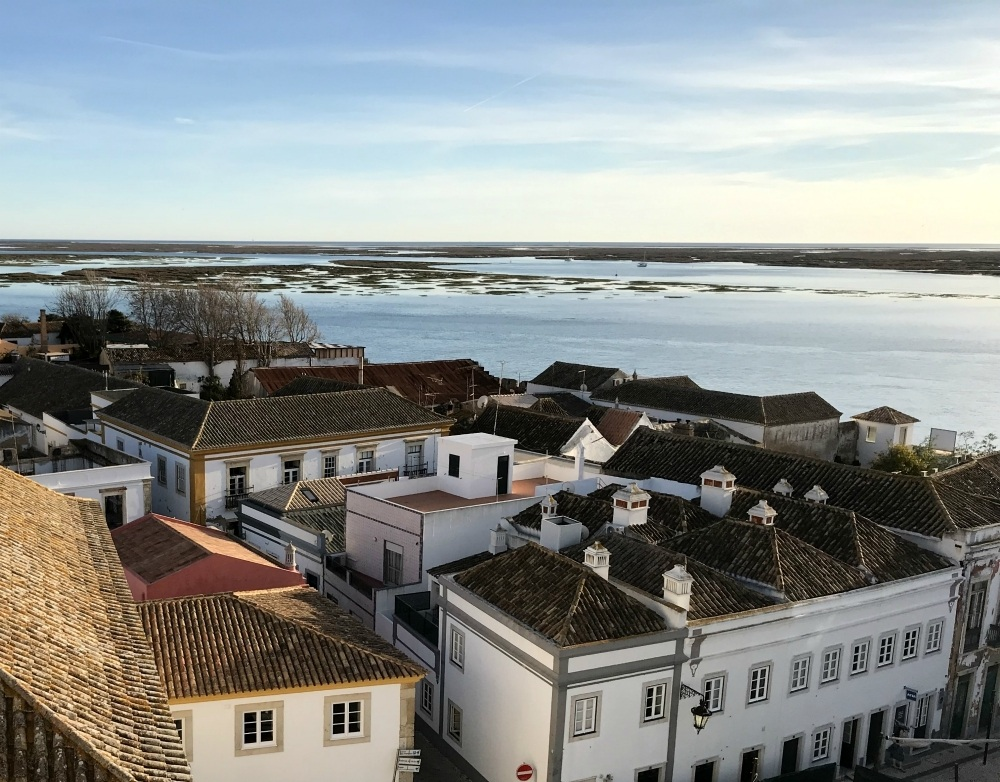 View from Faro Cathedral over Ria Formosa lagoon