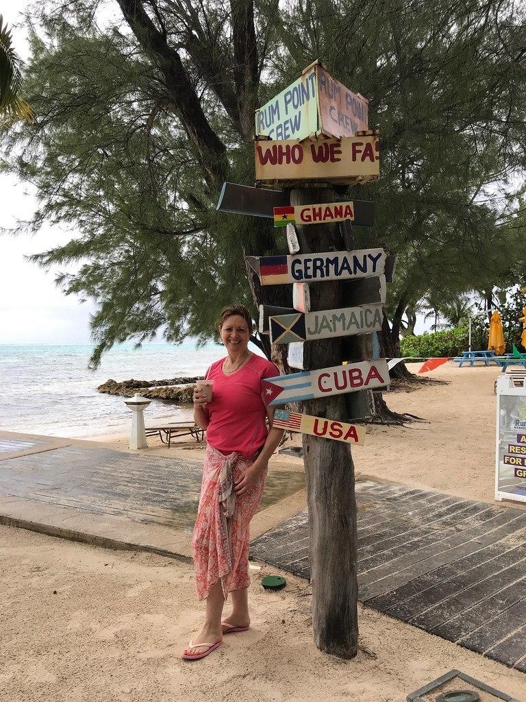Signpost at Rum Point on Grand Cayman, Cayman Islands Photo Heatheronhertravels.com