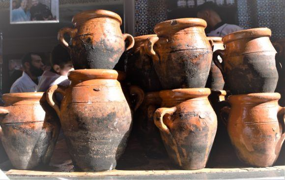 Tangia jars in a Marrakech restaurant