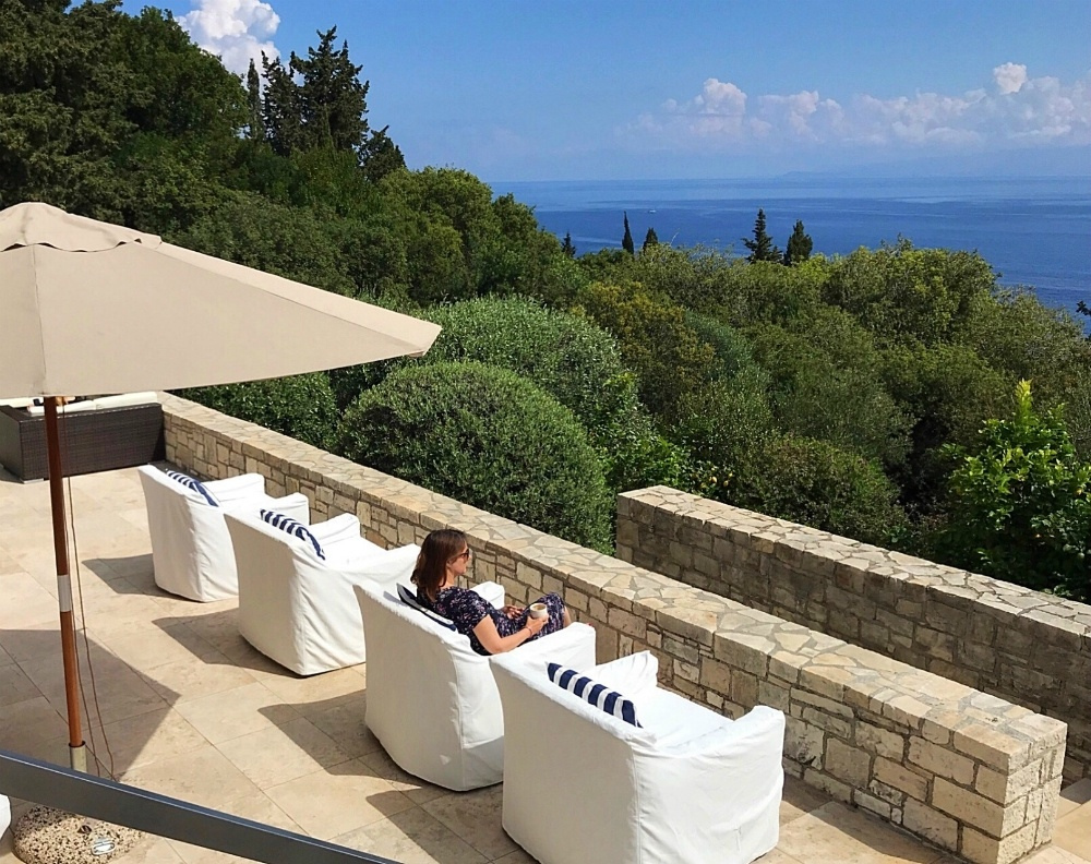 Luxury Paxos Villa Greece - Villa Glaros view from the terrace Photo Heatheronhertravels