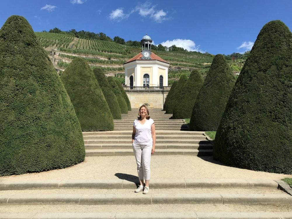 Heather at Schloss Wackerbarth winery near Dresden, Saxony, Germany Photo Heatheronhertravels.com